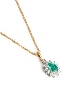 18ct Yellow gold Emerald & Diamond Cluster Pendant