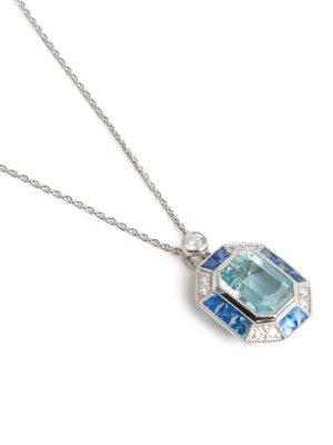 18ct White Gold Aquamarine & Sapphire Pendant