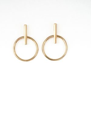 9ct Yellow Gold Bar & Circle Drop Earrings