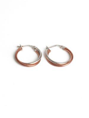 9ct White & Rose Gold Hoop Earrings