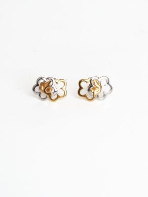 18ct Yellow & White Gold Flower Earrings