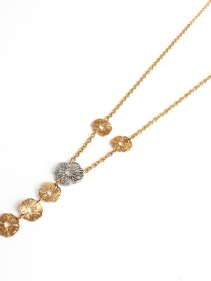 18ct Yellow & White Gold Flower Necklace