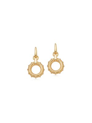 Links of London Brutalist Gold Vermeil Caged Circle Drop Earrings