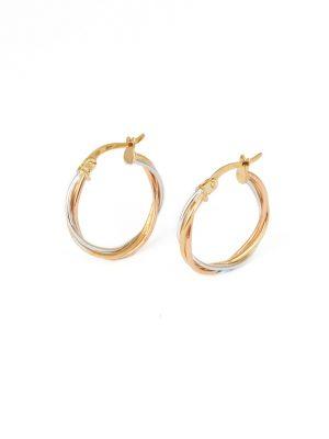 9ct Tri Colour Hoop Earrings