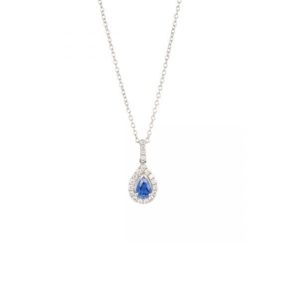 18ct White Gold Pear Sapphire & Diamond Pendant